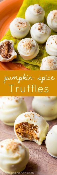For the best Fall treat, make these pumpkin spice truffles. pumpkin desserts, recipes, Fall, Thanksgiving baking ideas