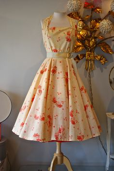 Gorgeous 1950's Jerry Gilden cotton floral print halter dress...sold at Xtabay.