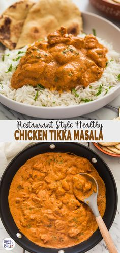 Enjoy authentic Indian flavors in this healthy restaurant-style Chicken Tikka Masala. Simple and easy tikka masala recipe for a weeknight meal or to serve at a party. And the tomato-based sauce or gra Dairy Free Indian Recipes, Indian Chicken Recipes, Easy Indian Recipes, Authentic Indian Recipes, Curry Recipes, Seafood Recipes, Healthy Recipes, Recipes Dinner, Fast Recipes