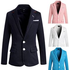 Men's Bright-Coloured Suit Blazers Slim Business Casual Two Button Jackets Coats Casual Blazer, Blazer Suit, Blazers For Men, Jacket Buttons, Business Casual, Online Price, What To Wear, Slim, Mens Fashion