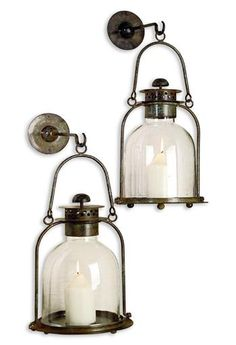 Front porch perfection: Alta Vista Pair Lime Wash Candle Sconce Lantern lighting