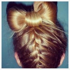 Bow Bun and Upside Down Braid. Looks hard to do, but is super easy!