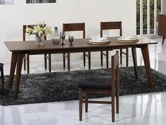 """Beverly Hills Anthrop Dining Table - Midcentury style Walnut Extension Dining Table . Dimensions: 75/91"""" x 35.5"""" x 30""""."""