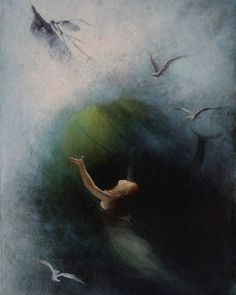 Karl Wilhelm Diefenbach – Mermaid in the Vortex of a Wave, n. In Diefenbach founded a commune near Vienna called Himmelhof. The commune was based on nudism, polyamory, and. Symbolic Art, Vintage Illustration Art, Illustrations, Moonlight Painting, Pre Raphaelite, Classical Art, Mermaid Art, Romanticism, Old Master