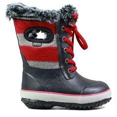 Bogs Kids' Arcata Wool Stripe Winter Boot Pre/Grade School Boots (Red Multi)