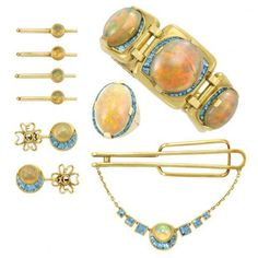 Group of Gentleman s Gold, Opal and Aquamarine Jewelry, Seaman Schepps for  Sale at Auction 3161105aaf7