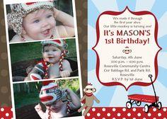 Sock monkey first birthday invite