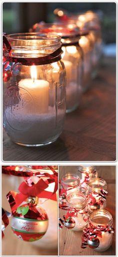 Christmas Mason Jar Candles & Adorable Mason Jar Christmas Crafts | Pinterest | Wooden beads ...