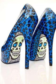 Blue Leopard and Skull Super High Pumps Dope Fashion, Fashion Shoes, Skull Fashion, Gothic Fashion, Women's Fashion, Stiletto Shoes, Shoes Heels, Prom Heels, Cute Shoes