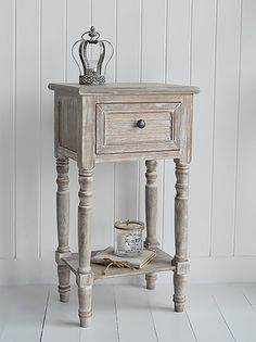 Richmond limed driftwood wood lamp or bedside table with drawer whitewashed