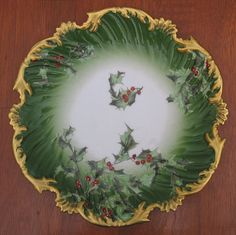 """Exquisite Limoges T&V Holly and Berry Christmas Plate.  Vintage from 1900-1909. Fine China. 8"""".  $300 from Shaz Stuff on Etsy.  --pinned Dec 29, 2013"""