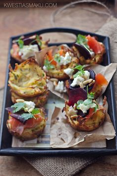 Potato Pancakes with smoked salmon, goat cheese, beetroot and pinenuts