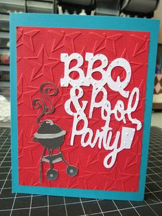 """Invites I made for my hubby's bday bbq!    100 pre-cut cards and matching envelopes - blue: recollections, beige: Jo Ann Essentials   Cricut cuts - welded at 3.36"""" BBQ: Block Party, &: Base Camp, Pool Party: Luau and cut at 3"""" Grill: Block Party   Red layer- red linen textured cardstock: The paper company   Cuttlebug embossing folders - stars, swiss dots   Markers - black Copic sketch marker, EK Success metallic collection writer - silver   Ink - blue sweetheart inker from We R Memory…"""