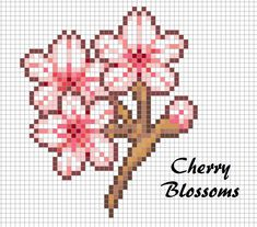 Cherry Blossoms Perler Bead Chart Pixel Art Design