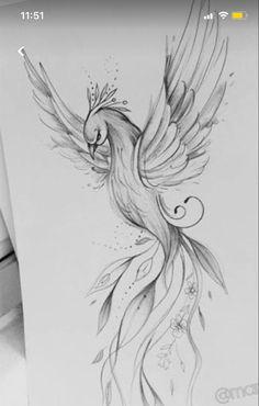 Phoenix Tattoo Feminine, Phoenix Back Tattoo, Small Phoenix Tattoos, Phoenix Tattoo Design, Small Tattoos, Phoenix Tattoo Sleeve, Rising Phoenix Tattoo, Phoenix Drawing, Feather Tattoo Design