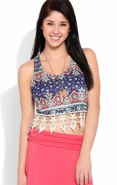 Deb Shops #Paisley Print Crop Tank Top with Crochet Trim $8.00