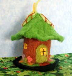 """Kathleen Dickinson has found the perfect companion activity to quilting, and what cute little fairy house she's created! """"I love felting!! Here is my first fairy house. Rabbits have been added, al..."""