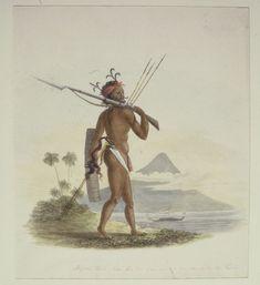 Maluku - Alifuru tribe member from Ternate Sultanate's kora kora. Unity In Diversity, Dutch East Indies, Dutch Colonial, National Treasure, Southeast Asia, 18th Century, History, Artwork, Warriors