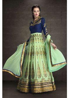bleu, vert couleur faux costume georgette Anarkali, - 119,00 €, #Robesindiennes #Anarkalipascher #Robebollywood #Shopkund