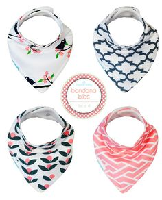 Kaydee Baby Bandana Bibs (Tulips and Birds on Branches) 4 Pack Gift Set