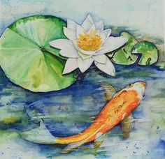 Items similar to Koi Pond tranquility Original Watercolor Painting on Etsy Watercolor Paintings, Original Paintings, Watercolors, Koi Painting, Water Paper, Koi Art, Best Artist, Art Drawings, Pond