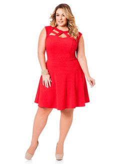 Plus Size Valentine's Day Looks: Cage Neck Skater Dress Cage Neck Skater Dress #psvday #ashleystewart