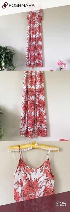 🆕🥂💃SEXY MAXI WHITE CORAL DRESS🆕BRAND NEW SIZE M Spaghetti strap & lined blousen bodice. Halfslip built-in with gathered waist. MATERIAL-100% Polyester  MEASURES-    Waist meas. Flat 13n.     Pit to pit 18in.     Falls 42in. From waist⬇️ Sheer at the unlined areas, light breathable fabric with slits. And very stretchy waistline Just add a Statement necklace, black heels, and you're ready for a night out on the town. Brilliant elegant design. BNWT  online pkging. Dresses Maxi