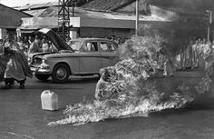 June 11, 1963, Thich Quang Duc, a Buddhist monk from Vietnam, burned himself to death at a busy intersection in downtown Saigon to bring attention to the repressive policies of the Catholic Diem regime that controlled the South Vietnamese government at the time. Buddhist monks asked the regime to lift its ban on flying the traditional Buddhist flag, to grant Buddhism the same rights as Catholicism, to stop detaining Buddhists and to give Buddhist monks and nuns the right to practice.
