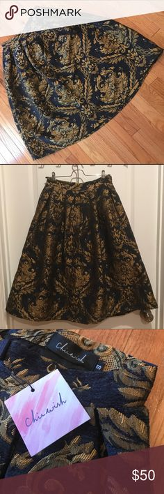 Chicwish Baroque Midi Skirt - Navy & Gold NWT. Elegant midi skirt that can be dressed up or down! Chicwish Skirts Midi