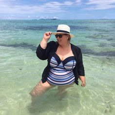 """11 Likes, 4 Comments - Curves In A Cardigan (@curvesinacardigan) on Instagram: """"Soaking up some vitamin sea 🌊"""""""