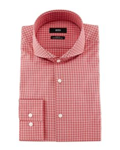 Dwayne Slim-Fit End-On-End Check Dress Shirt, Red/White