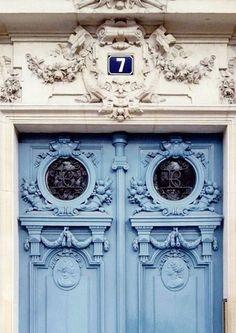 Beautiful pale blue Paris doors