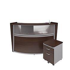 OFM Marque Series Plexi Single-Unit Curved Reception Station - Office Furniture Receptionist/Secretary Desk with Walnut Pedestal (PKG-55310-WLNT)