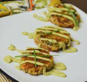 Crab Cakes with Wasabi Avocado Sauce