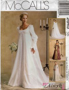 McCalls 2645 Misses Bridal Gowns: Gown A, B, C has empire bodice with low scoop neckline, a-line skirt, back zipper closure, purchased trim variations