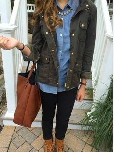 Khaki jacket over denim shirt .