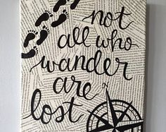Not All Who Wander Are Lost Book Pages Compass Canvas, in. Wall Art, Decorative Wall Hanging with Book Pages Canvas Art Quotes, Painting Quotes, Diy Canvas Art, Diy Wall Art, Diy Painting, Canvas Ideas, Canvas Quote Paintings, Wall Decor, Book Page Art