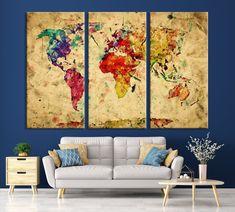 Yellow Retro Watercolor World Map Canvas Print Vintage 3 Panel Map Art Print Great Design for - 3 Panel / Per Panel 27x40