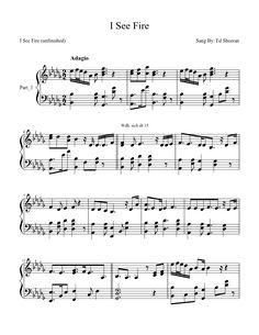 Ed Sheeran - I see fire - free piano sheet