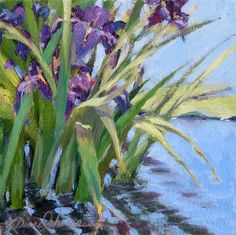 Plein-air painting in a Georgia botanical garden, by LDianeJohnson.com - Iris' quietly soaking up the sun in a gently moving pond.
