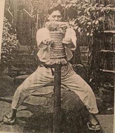 "Here is an uncommon photo of Yoshitaka ( Gigo) Funakoshi son of Master Gichen Funakoshi using the makiwara board in the mid to end of the 30s.According to Shigeru Egami Sensei, Gigo would say "" we must not be the frog in the well which does not know the world:We have to study other martial arts."" He believed we have to learn from a range of different systems. Gigo took Shotokan to a different level."