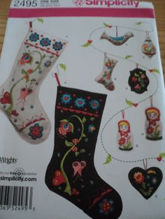 Sewing Pattern Simplicity 2495 Embroidered Felt Stockings & Ornaments $5