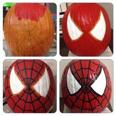 Spiderman painted pumpkin