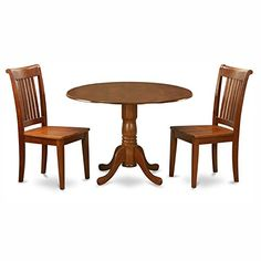 East West Furniture Dublin 3 Piece Drop Leaf Dining Table Set with Portland Wooden Seat Chairs