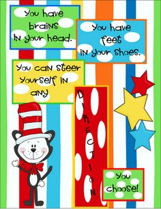 FREE Dr. Seuss posters!  Adorable!