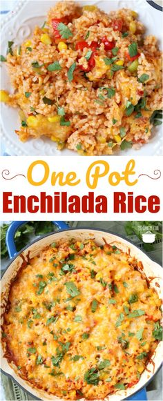 One Pot Enchilada Rice recipe from The Country Cook rice sidedish ideas recipes dinner cheese 287526757444593411 Cooked Rice Recipes, Crockpot Recipes, Cooking Recipes, Cheese Recipes, Cooking Ideas, Mexican Dishes, Mexican Food Recipes, Mexican Meals, Rice Dishes