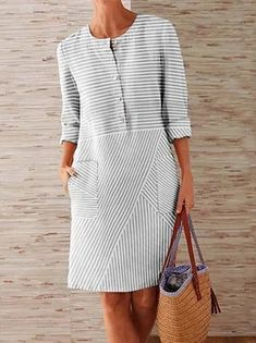 Shift Dresses, Midi Dresses, Sleeve Dresses, Dresses With Sleeves, Necklines For Dresses, Types Of Dresses, Linen Dresses, Casual Dresses, Loose Dresses