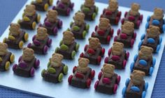 Get these Tiny Teddies on the grid for your next birthday party and you will be super popular with the little ones. Serve them on their own or use them as cars on a racetrack birthday cake!