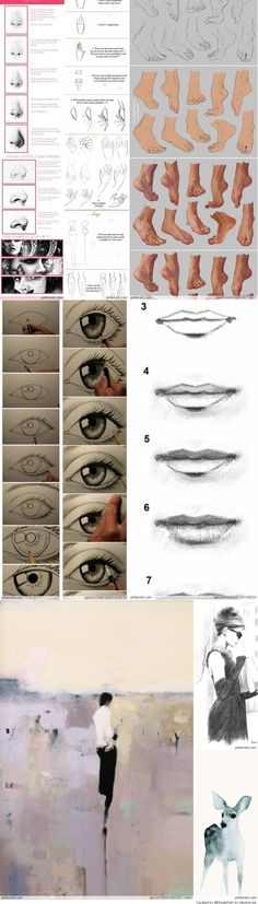 Drawing guide for realistic hands, feet, eyes, and lips.