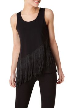 Black tank top with fringe detail across the front. Great stretch fabric. Wear with a jacket to work and wear alone at night.   Black Fringe Tank by Yest. Clothing - Tops - Tees & Tanks Clothing - Tops - Sleeveless Iowa